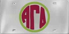 Alpha Gamma Delta Aluminum Monogram License Plate