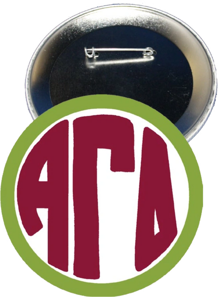 Alpha Gamma Delta Monogram Green Button