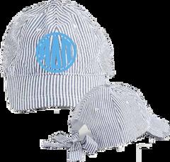 Alpha Delta Pi Seersucker Cap with Bow Tie Back