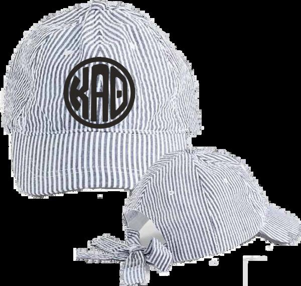 Kappa Alpha Theta Seersucker Cap with Bow Tie Back
