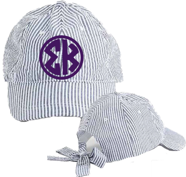 Sigma Kappa Seersucker Cap with Bow Tie Back