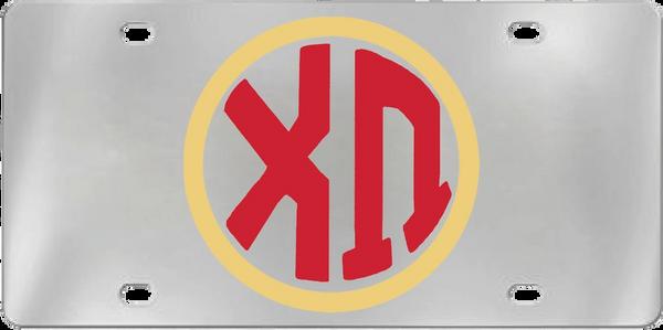 Chi Omega Aluminum Monogram License Plate