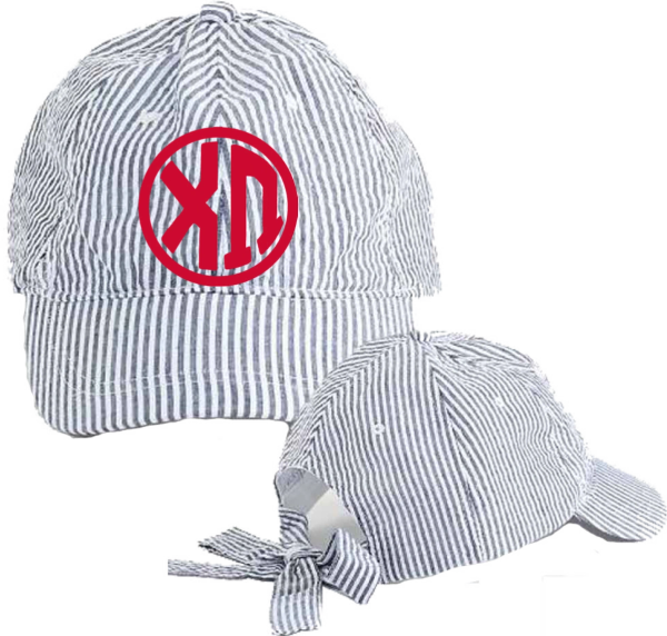 Chi Omega Seersucker Cap with Bow Tie Back