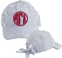 Alpha Gamma Delta Seersucker Cap with Bow Tie Back