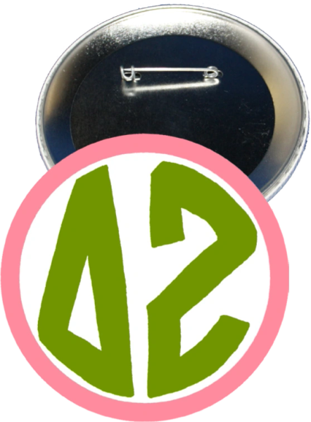 Delta Zeta Monogram Pink Button