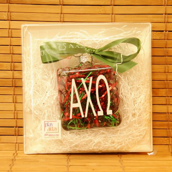 Alpha Chi Omega Glass Ornament