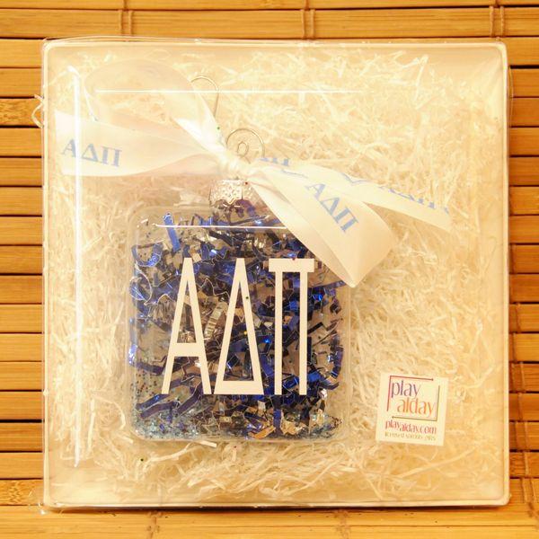 Alpha Delta Pi Glass Ornament
