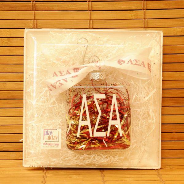 Alpha Sigma Alpha Glass Ornament