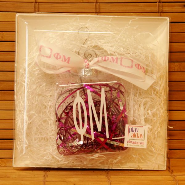 Phi Mu Glass Ornament