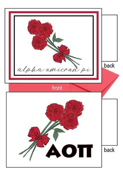 Alpha Omicron Pi Flower Notecards