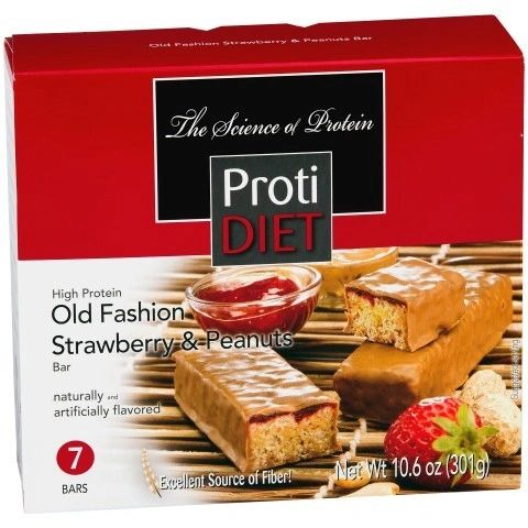(422367) ProtiDiet Protein Bar - Old Fashioned Strawberry & Peanuts (7/Box)= ALTERNATIVE TO IDEAL PROTEIN --- RESTRICTRED