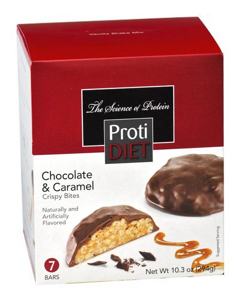 (354385) ProtiDiet Protein Crispy Bites - Chocolate & Caramel (7/Box)= ALTERNATIVE TO IDEAL PROTEIN --- NOT PROTOCOL - - - GLUTEN FREE!!