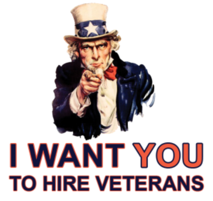 Picture of Uncle Sam pointing and saying I want you to hire Veterans.