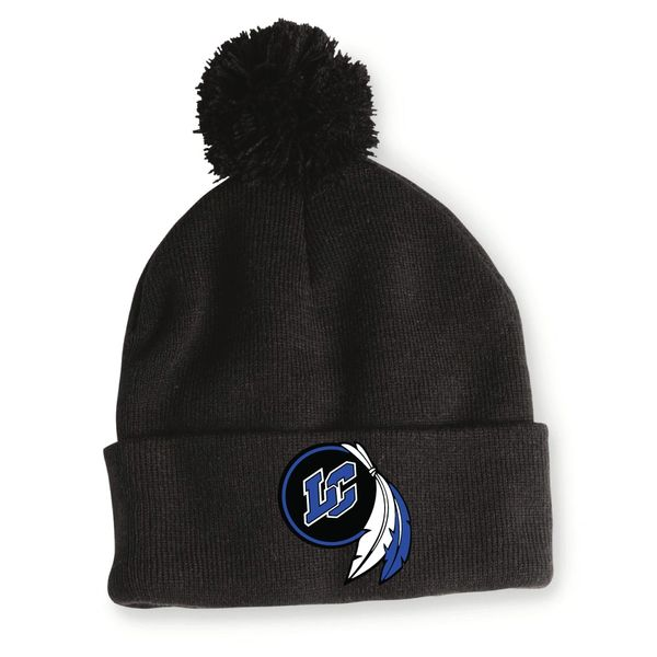 LC Embroidered Pom Beanie