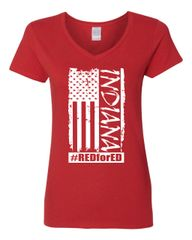 Distressed American Flag Women's V-Neck T-Shirt