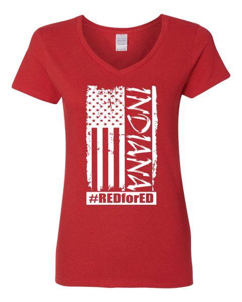 Distressed American Flag Women's V-Neck T-Shirt