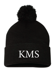 KMS Embroidered Pom Pom Beanie Hat