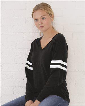 Boxercraft - Women's Slub Jersey Varsitee V-Neck Long Sleeve T-Shirt
