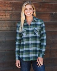 Women's Vintage Brushed Flannel Long Sleeve Shirt