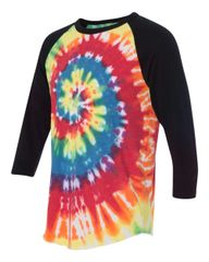 Tie Dye Three-Quarter Sleeve Raglan T-Shirt