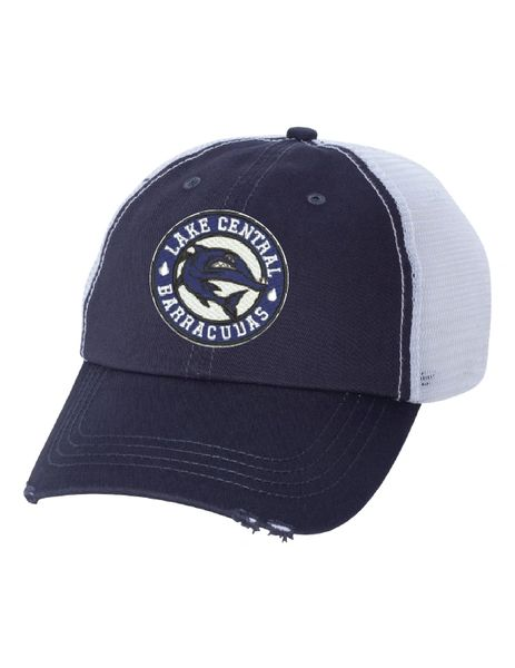 Embroidered Frayed-Bill Barracudas Hat 6887 Navy/White