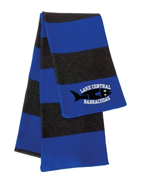 Embroidered Barracudas Rugby-Striped Knit Scarf