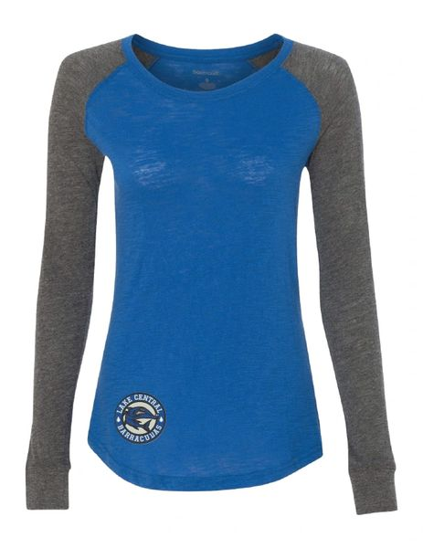 Barracudas Women's Preppy Patch Slub Royal Long Sleeve T-Shirt
