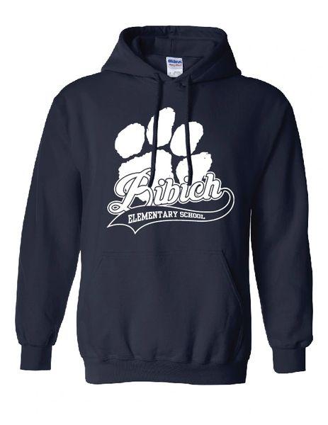 Bibich Elementary Paw Print Navy Hooded Sweatshirt