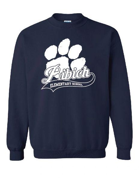 Bibich Elementary Paw Print Navy Crewneck Sweatshirt