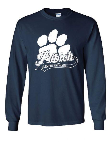 Bibich Elementary Paw Print Long Sleeve Navy T-shirt