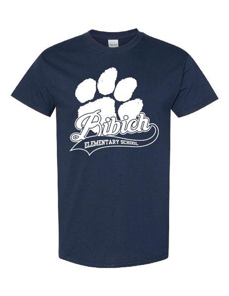 Bibich Elementary Paw Print Navy T-shirt