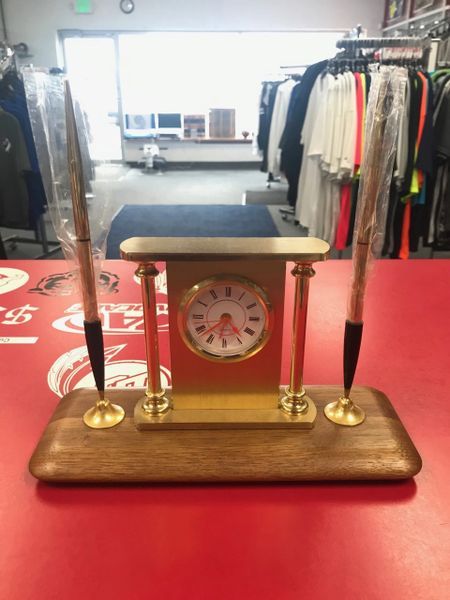 Desk Clock Stand With Two Gold Pens
