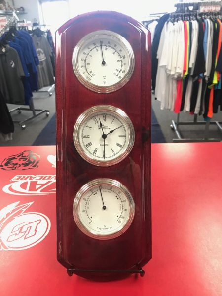 Red Finish Clock and Thermometer