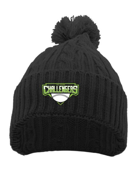 Embroidered Tri-Town Challengers Cable Knit Pom-Pom Beanie