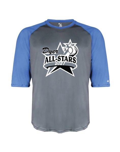 Dyer All-Star B-Core Three-Quarter Sleeve Baseball T-Shirt