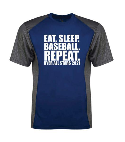 Eat Sleep Baseball Repeat Line Embossed Colorblock T-Shirt