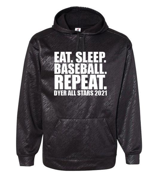 Eat Sleep Baseball Repeat Line Embossed Hoodie