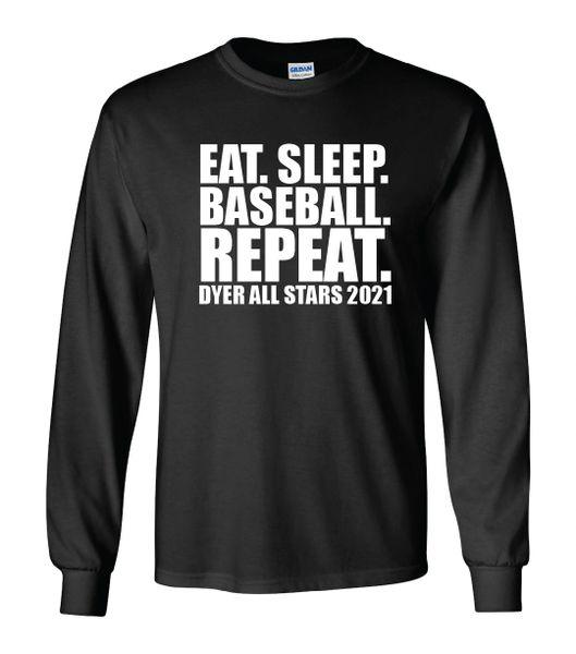 Eat Sleep Baseball Repeat Long Sleeves