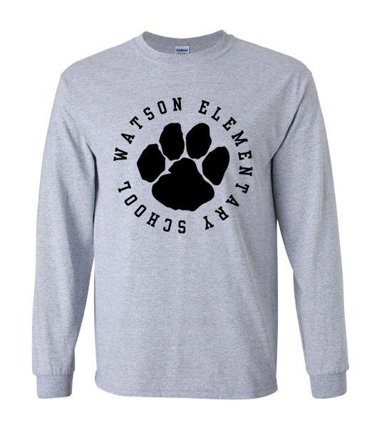 Watson Wildcats 1 Color Circle Paw Long Sleeves