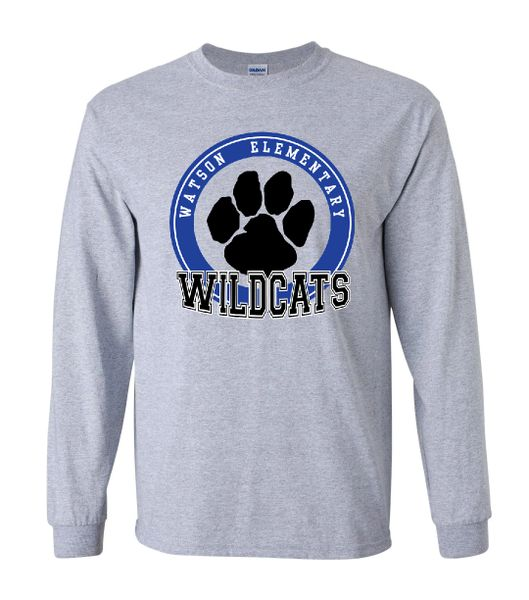 Watson Wildcats 3 Color Paw Circle Sport Grey Long Sleeves