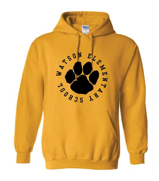 Watson Wildcats 1 Color Paw Circle Hoodie