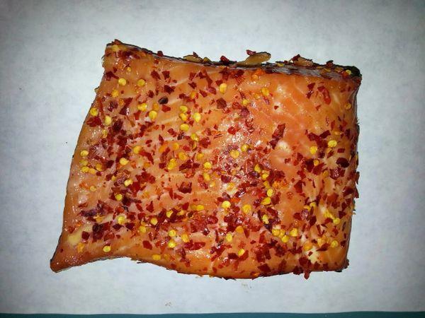 Hot Garlic Alder Smoked King Salmon