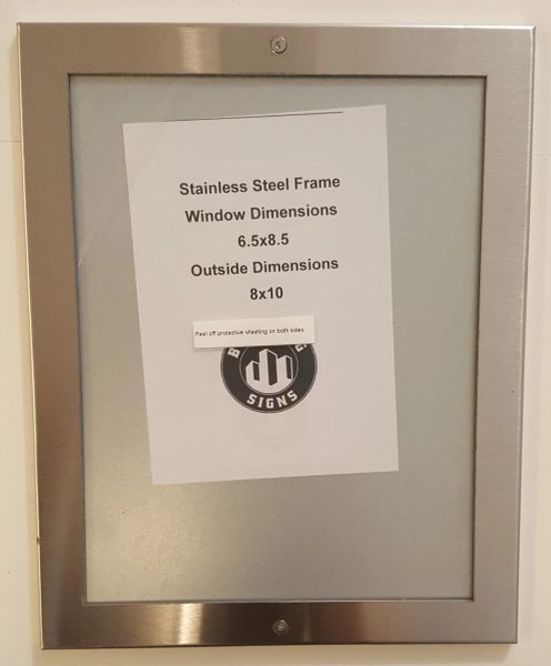 ELEVATOR CERTIFICATE FRAME STAINLESS STEEL (SIZE 6.5''x8.5'')