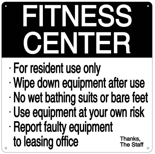 FITNESS CENTER RULES SIGN (ALUMINUM 14X14)