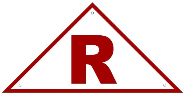 ROOF TRUSS IDENTIFICATION SIGN- REFLECTIVE !!! (ALUMINUM, 6''x12'' TRIANGLE)