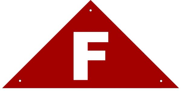 FLOOR TRUSS IDENTIFICATION SIGN- REFLECTIVE !!! (ALUMINUM, 6''x12'' TRIANGLE)