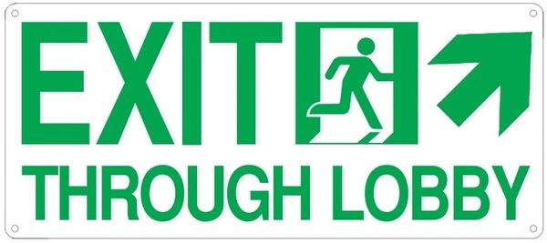 "PHOTOLUMINESCENT EXIT THROUGH LOBBY SIGN HEAVY DUTY / GLOW IN THE DARK ""EXIT THROUGH LOBBY"" SIGN (HEAVY DUTY ALUMINUM SIGN 7 X 16 WITH RIGHT UP ARROW AND RUNNING MAN)"