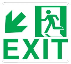 """PHOTOLUMINESCENT EXIT SIGN HEAVY DUTY / GLOW IN THE DARK """"EXIT"""" SIGN HEAVY DUTY (ALUMINUM SIGN 9 X 10 WITH DOWN LEFT ARROW AND RUNNING MAN)"""