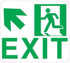 """PHOTOLUMINESCENT EXIT SIGN HEAVY DUTY / GLOW IN THE DARK """"EXIT"""" SIGN HEAVY DUTY (ALUMINUM SIGN 9 X 10 WITH UP LEFT ARROW AND RUNNING MAN)"""