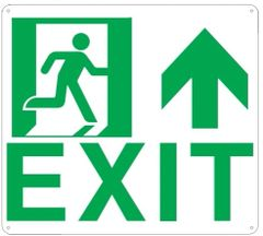 """PHOTOLUMINESCENT EXIT SIGN HEAVY DUTY / GLOW IN THE DARK """"EXIT"""" SIGN HEAVY DUTY (ALUMINUM SIGN 9 X 10 WITH UP ARROW AND RUNNING MAN)"""
